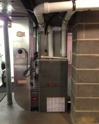 Basement Trane Air Handler and Filtration Installation