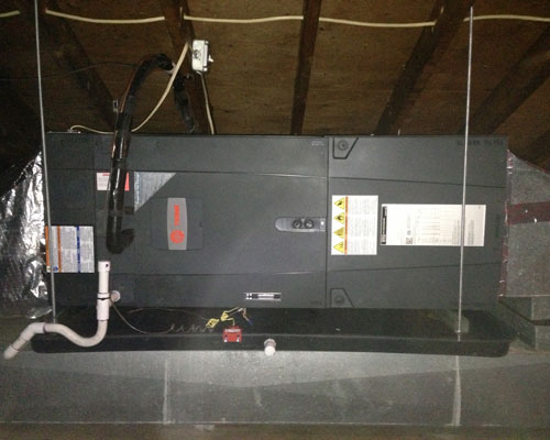 Attic Suspended Trane Air Handler Installation